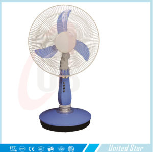 "12"" High Low Speed AC DC Recharge Battery Fan with LED Light Table Fan pictures & photos"