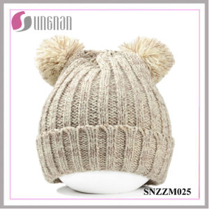 2015 Winter Warm Cute Bear Ears Thick Warm Wool Knitted Hats (SNZZM025) pictures & photos