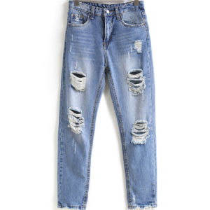 China New Jeans Women Ripped Loose Fashion Trousers Denim Jeans ...