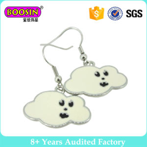 White Cloud Shaped Cute Style Enamel Metal Earrings for Women pictures & photos