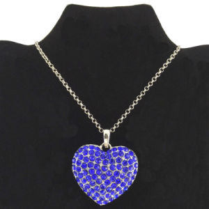 Royal Blue Crystal Heart Charms Necklace Wholesale (FN16040816)