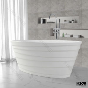 Artificial Stone Solid Surface Pure White Bathroom Freestanding Bathtub pictures & photos