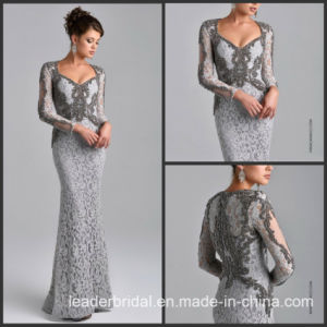 Long Sleeves Gray Lace Mother of The Bride Dress Beads Evening Dress Dresses Z7016 pictures & photos