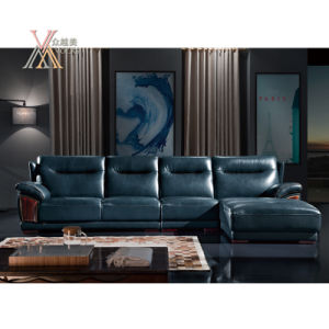 Blue Leather Sofa with Chaise (839)