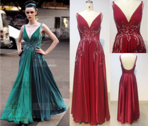 V Necklineevening Dress with Beaded on The Bodice pictures & photos