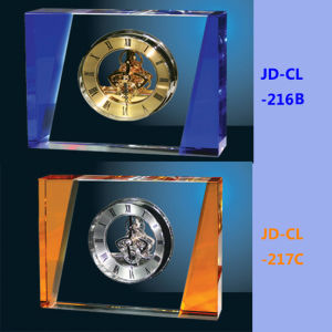 Blue or Amber Luxury Big Crystal Table Office Clock pictures & photos