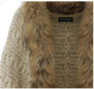 Women Loose Knitted Winter Batwing Fur Collar Cardigan Sweater pictures & photos