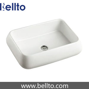 Rectangular Ceramic Bathroom Vessel Sink for Restroom (3058B) pictures & photos