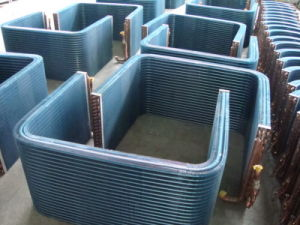 7mm Riffled Copper Tube Louvered Fin Refrigeration Unit Heat Exchanger pictures & photos