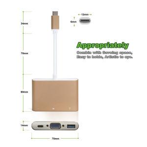 USB Type-C Adapter Aluminum Alloy with Multi-Port Type C, + 2k VGA (30Hz) + USB 3.1 Ports pictures & photos