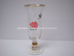 Decorated Champange Glass Cup with Gold Line&Gold Stem (B-242) pictures & photos