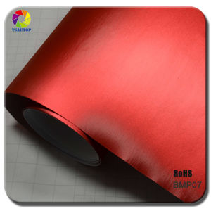 Tsautop Brushed Matte Chrome Red Vinyl Car Wrap pictures & photos