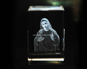 3D Mother Mary Statue Engraving Into Crystal Cube for Christian (R3013) pictures & photos