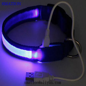 Reflective Pet Camouflage Nylon Cheap Fashion LED USB Rechargeable Dog Collars pictures & photos