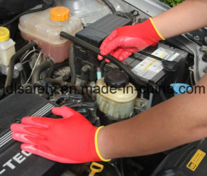 Grey Nylon Knitted Working Gloves with Black Smooth Nitrile Coating (N1551B) pictures & photos
