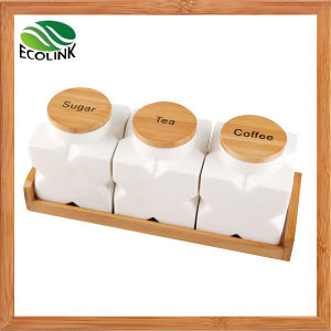 Ceramic Seal Bottle / Storage Jar Set with Bamboo Stand pictures & photos