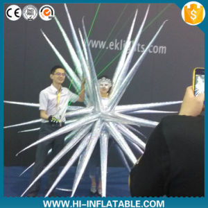 Crazy Inflatable Silver Performance Costume Lady Gaga Wearing Star Decoration for Stage Party Club Decoration