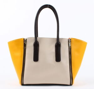Hot Sell Fresh Colors Combination Lady PU Handbag (C70661) pictures & photos