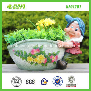 SGS Passed Gnome Polyresin Flower Pot Aka Planter (NF91201)