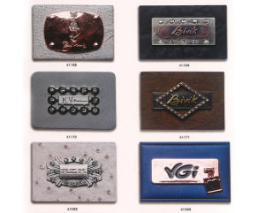 Custom Leather Garment Labels with Metal Nameplates pictures & photos