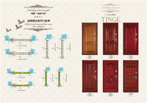 Wooden Look with Glass Security Metal Door for Indonesia pictures & photos