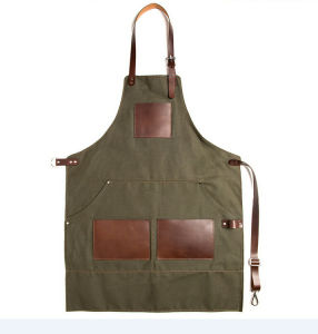 Full Length Duck Canvas Work Apron Tool Apron with Leather Trim pictures & photos