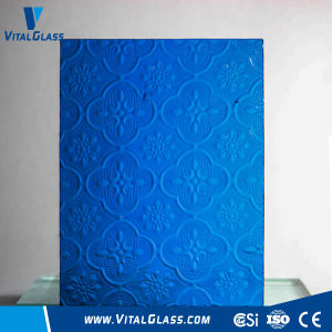 3-6mm Blue Flora/Woven/Nashiji Patterned/Figured Glass/Building Glass with Ce&ISO9001 pictures & photos
