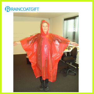 Women′s Orange PE Disposable Rain Poncho Rpe-161 pictures & photos