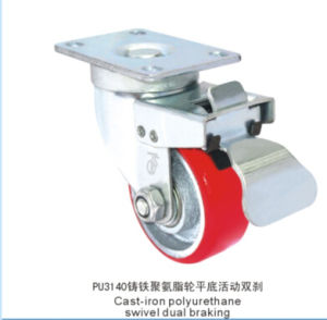 Swivel Caster with PU Wheel Cast Iron Core Double Brake