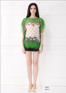 Women′s Short Sleeve Blouse with Lace (X85026)