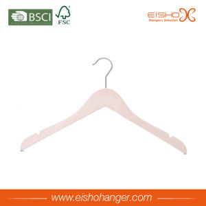 White Simple Wooden Shirt Hanger with Skid-Proof Shoulder pictures & photos