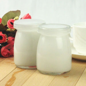 Transparent Milk Glass Bottle Juice Bottle Pudding Jar with Plastic Lid pictures & photos