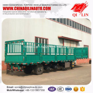 High Quality 3 Axles Double Tires Wood Floor Fence Semi Trailer pictures & photos