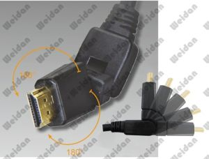 V2.0, Extra HD Rotary Plug 180 Degree HDMI Cable pictures & photos