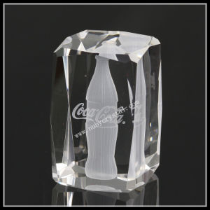 Clear Laser Crystal Bottle Image in Crystal Cube pictures & photos