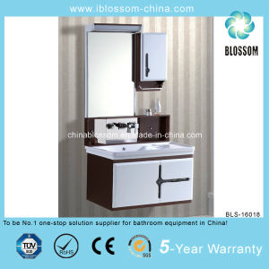 PVC Materical White Lacquer Finish Bathroom Cabinet (BLS-16018) pictures & photos
