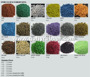 Standard Colors and Sizes of Colorful EPDM Rubber Granules