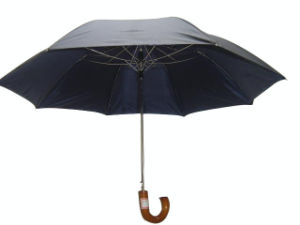 Auto Open Wood Curved Handle 2 Folding Umbrella (2FU004) pictures & photos