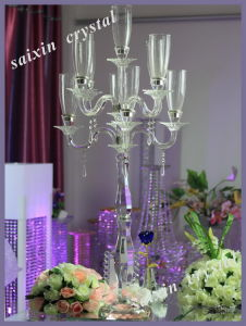 Wedding Centre Piece Tall Crystal Glass Candelabra with Glass Hurricanes Zt-078
