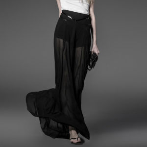 Top Sale Sexy Lady Black Chiffon Divided Skirts (PQ-032) pictures & photos