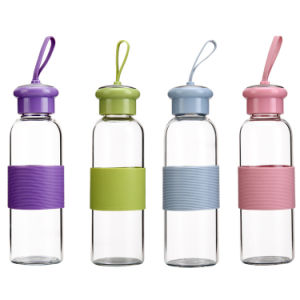 Best Selling Reusable Glass Sports Water Bottle with Silicone Sleeve pictures & photos