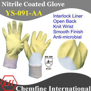 Interlock Glove with Anti-Microbial Yellow Nitrile Coating & Open Back & Knit Wrist/ EN388: 4121 (YS-091-AA) pictures & photos