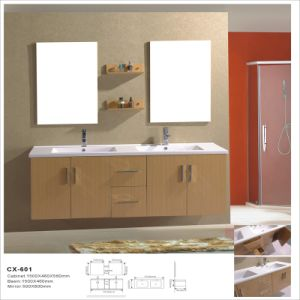 Double Basin Modern Wall-Mounted Melamine Bathroom Cabinet pictures & photos