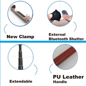 Fashion Aluminum Bluetooth Selfie Stick PU Leather with Shutter Kit pictures & photos