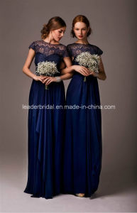 Dark Blue Prom Party Gowns Chiffon Sheer Bridesmaid Dresses Z4022 pictures & photos