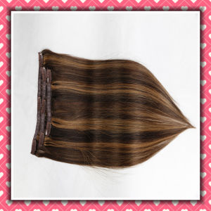 Wholesale Clip-on Human Hair Extensions Silky 18inch Piano Color pictures & photos