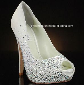 High-Shine Bridal High Heel with Crystals Wedding Shoes