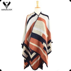 2017 Custom Design Woven Stripe Checked Poncho and Shawl pictures & photos