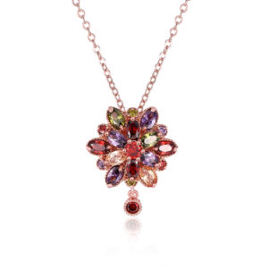 Western Classical Flower Shape Colored Stone Zircon Pendant Necklace Rose Gold Plated pictures & photos