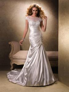 2014 Women′s Ivory Beading Mermaid Satin Bridal Wedding Dress